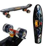 """Скейтборд (Пенниборд) RGX 22"""" Print Cars (светящиеся колеса), подвеска - Alu, ABEC-7, (черный)"""