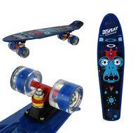 "Скейтборд (Пенниборд) RGX 22"" Print Display (светящиеся колеса), подвеска - Alu, ABEC-7, (синий)"