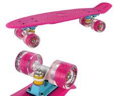 """Скейтборд (Пенниборд) RGX 22"""" (светящиеся колеса), подвеска - Alu, ABEC-7 (розовый)"""