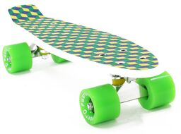"""Скейтборд (Пенниборд) PWS Print Grip 3D 22"""" белый/зеленый"""