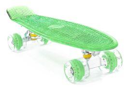 """Скейтборд (Пенниборд) PWS Flash 22"""" (колеса с подсветкой), Alu, ABEC-7 (зеленый)"""