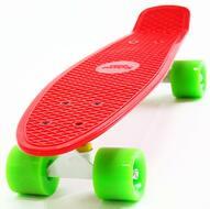 """Скейтборд (Пенниборд) Cruiser 22"""", Alu, ABEC-7 (красный/зеленый)"""