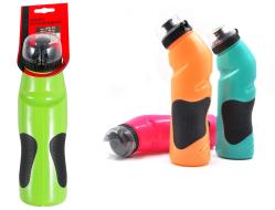 Бутылочка велосипедиста, 750 мл, изогнутая, с защитой от пыли, полимерная (черный/зеленый)